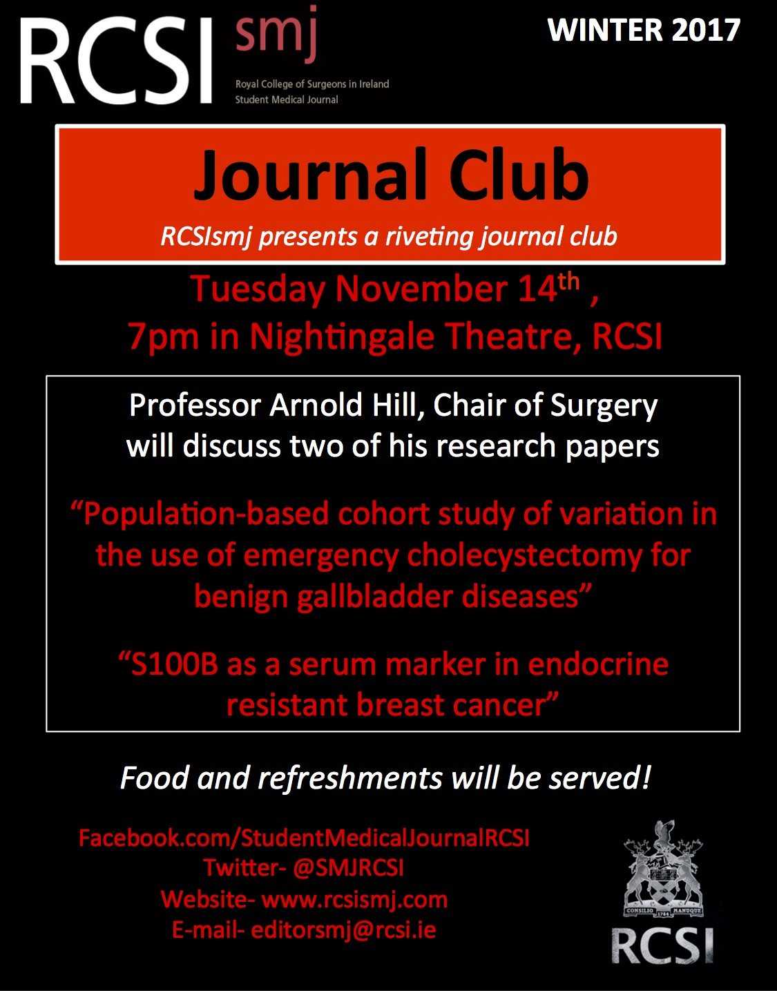 Rcsismj journal club tuesday november 14th rcsi student medical as always pizza and refreshments will be served afterwards maxwellsz